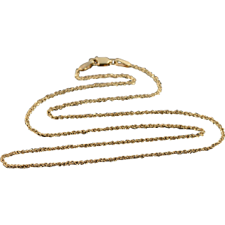 """14K 1.4mm Loose Link Chain Necklace 17.9"""" Yellow Gold"""