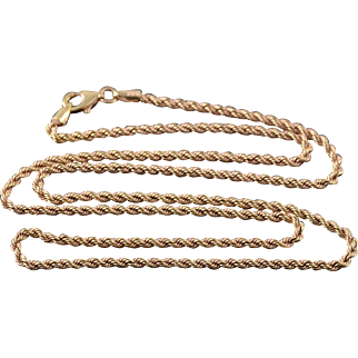 """18K 2.1mm Rope Link Twist Chain Necklace 20.25"""" Yellow Gold"""