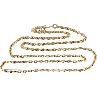 """14K 1.5mm Loose Link Chain Necklace 15.9"""" Yellow Gold"""