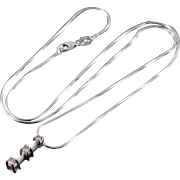 "10K 0.20 CTW Diamond Bar Pendant 0.9mm Snake Link Necklace 18.1"" White Gold"