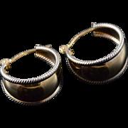 14K Milgrain 16mm Thick Hoop Circle Earrings Yellow Gold