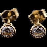 14K 0.33 CTW White CZ Stud Earrings Yellow Gold