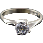 14K 0.75 CT White CZ Solitaire Engagement Ring Size 6 White Gold