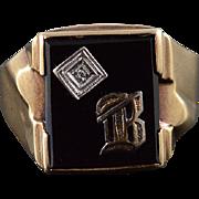 10K Onyx Diamond Accented B Letter Monogram Men's Ring Size 9.75 Yellow Gold