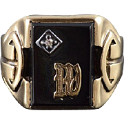 10K Onyx Diamond Accented W Letter Monogram Men's Ring Size 10 Yellow Gold