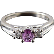 10K 0.82 CTW Diamond Pink Sapphire Engagement Ring Size 5.25 White Gold