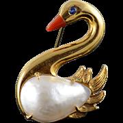 18K Sapphire Enamel 25x15.5mm Pearl Swan Duck Pin/Brooch Yellow Gold