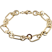"14K 7.9mm Hollow Circle Oval Link Bracelet 7"" Yellow Gold"