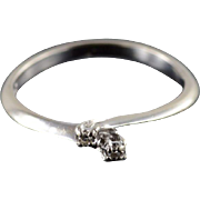 14K Diamond Bypass Criss Cross Engagement Promise Ring Size 5.25 White Gold