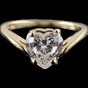 14K 1.50 Ct CZ Heart Cut Chevron Travel Engagement Ring Size 6 Yellow Gold