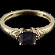 10K Tanzanite Diamond Princess Cut Prong Set Tiered Ring Size 7 Yellow Gold