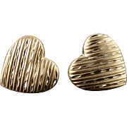 14K Heart High Relief Grooved Diamond Cut Stud Earrings Yellow Gold