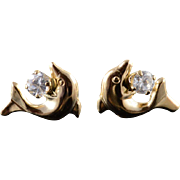 14K White Sapphire High Relief Dolphin Stud Earrings Yellow Gold