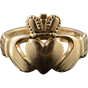 14K Claddagh Celtic Irish Wedding Promise Ring Size 4 Yellow Gold