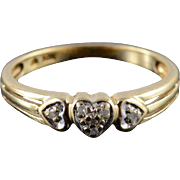 10K Diamond Heart Cluster Love Promise Ring Size 7 Yellow Gold