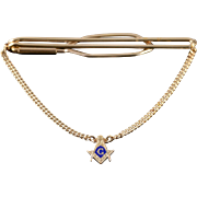 1/20th 12k Gold Filled Masonic Blue Enamel Chain Tie Bar