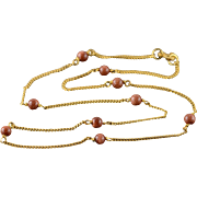 """14K 4mm Gold Stone Beaded 1.2mm Curb Link Chain Necklace 15.25"""" Yellow Gold"""