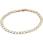 """14K 5.2mm Textured Two Tone Fancy Link Chain Bracelet 7.25"""" Yellow Gold"""