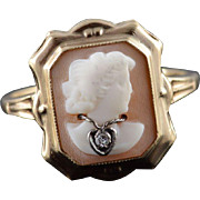 10K Victorian Diamond Inset Carved Lady Cameo Shell Ring Size 8 Yellow Gold