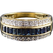 14K 0.82 Ctw Sapphire Diamond Pave Channel Band Ring Size 9 Yellow Gold
