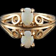 10K Opal Scroll Filigree Oval Prong Set Fancy Ring Size 6.25 Yellow Gold