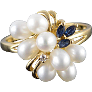 14K 4mm Pearl Sapphire Diamond Fancy Cluster Ring Size 10.25 Yellow Gold