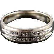 14K Diamond Two Row Inset Channel Mens Wedding Band Ring Size 12 Yellow Gold