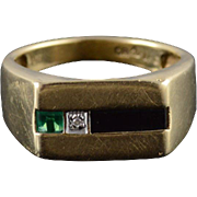 14K Diamond Onyx Emerald* Squared Men's Band Ring Size 9.75 Yellow Gold