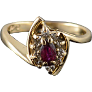 14K Ruby Diamond Starburst Halo Bypass Ring Size 5 Yellow Gold
