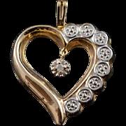 10K Diamond Two Tone Scalloped Heart Charm/Pendant Yellow Gold