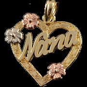 14K Nana Grandma Cut Out Heart Flower Charm/Pendant Yellow Gold