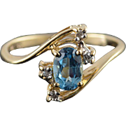 14K Blue Topaz Diamond Oval Prong Accent Bypass Ring Size 5 Yellow Gold