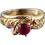 10K Ruby* Diamond Three Stone Scroll Design Ring Size 5 Yellow Gold