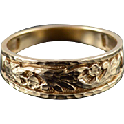 10K Diamond Cut Textured Leaf Vine Mens' Band Ring Size 10 Yellow Gold