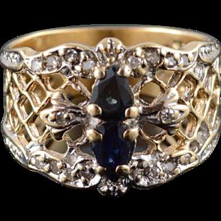 14K 0.50 Ctw Sapphire Diamond Lattice Filigree Ring Size 5.25 Yellow Gold