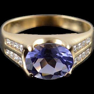 14K Tanzanite* Diamond Inset Decorative Prong Ring Size 8.75 Yellow Gold