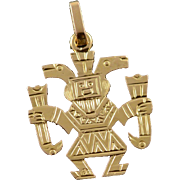 18K Mexican Mexico Aztec Tribal Figure Charm/Pendant Yellow Gold