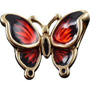 18K Red Black Enamel Flying Butterfly Charm/Pendant Yellow Gold