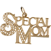 14K Special Mom Mother Word Cut Out Charm/Pendant Yellow Gold