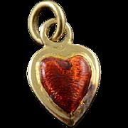 18K Red Enamel Heart Puffy Charm/Pendant Yellow Gold