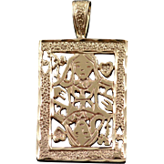 10K Queen of Hearts Playing Card Filigree Charm/Pendant Yellow Gold