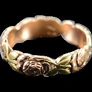 14K Antique Jabel Rose Infinity Wedding Band Ring - Size 7 / Rose/Green Gold