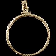 14K 30mm Class Coin Bezel Charm/Pendant Yellow Gold