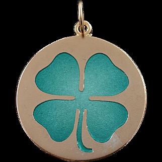 14K 1960's Green Enamel Shamrock Irish Luck Charm/Pendant Yellow Gold