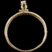 14K 30mm Classic Coin Bezel Charm/Pendant Yellow Gold