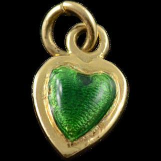 18K Green Enamel Heart Puffy Charm/Pendant Yellow Gold