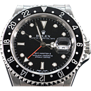 Rolex Black Face Stainless GMT Master II Watch