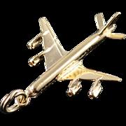 14K Heavy Airplane Travel Jet Flying Pilot Charm/Pendant Yellow Gold