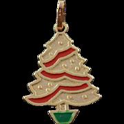 14K Red Green Enamel Christmas Tree Holiday Charm/Pendant Yellow Gold