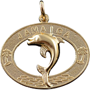14K Jamaica Jumping Dolphin Island Beach Vacation Charm/Pendant Yellow Gold